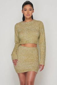 Glitter Fuzzy Skirt Set