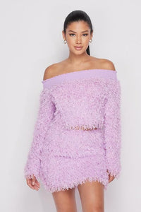 Furry Off the Shoulder Set