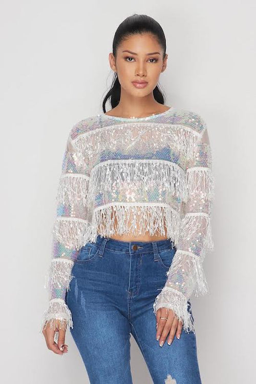 Layered Sequin Fringe Top