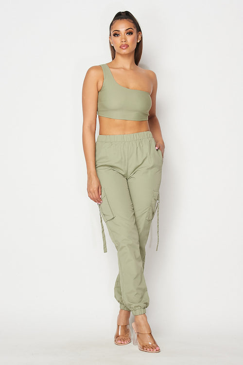 Single Sleeve Crop Top and Jogger Set