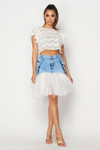 Denim Mini Skirt with Detachable Mesh