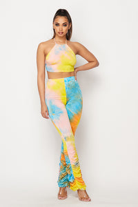 Tye Dye Halter Crop Top & Ruched Pant Set