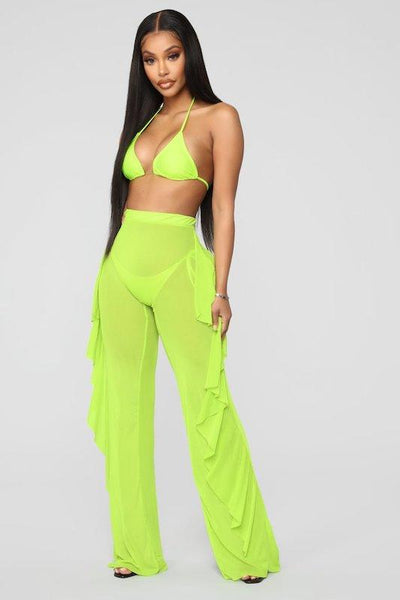 Mesh Bikini Top and Ruffle Pant Set