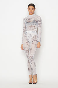 Dragon Printed Mesh Bodysuit & Pants Set