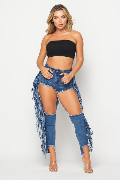 Dark Destroyed Jeans with Side Fringe