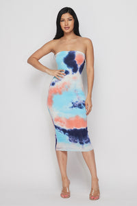 Blue Wash Tie Dye Dress