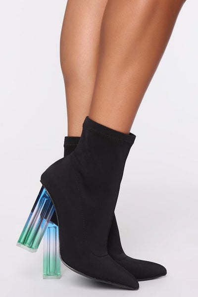 Lycra Bootie with Clear Square Heel