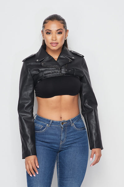 Faux Leather Crop Jacket