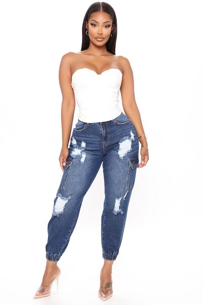 High Waist Distressed Jogger with Side Pockets