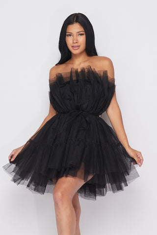 Sleeveless Tulle Ruffle Mesh Dress