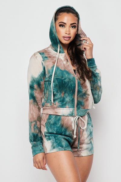 On Track Tie Dye Hoody & Short Set