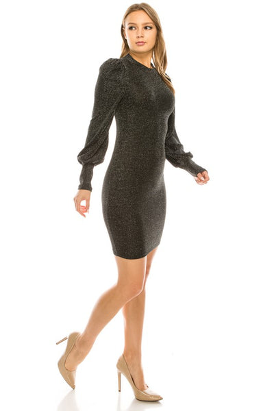 Bell Sleeve Glitter Dress