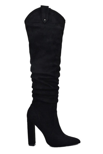 Pointed Toe OTK Chunky Heel Suede Boot