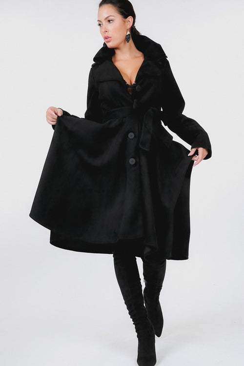 Button Tackling Collar Suede Coat