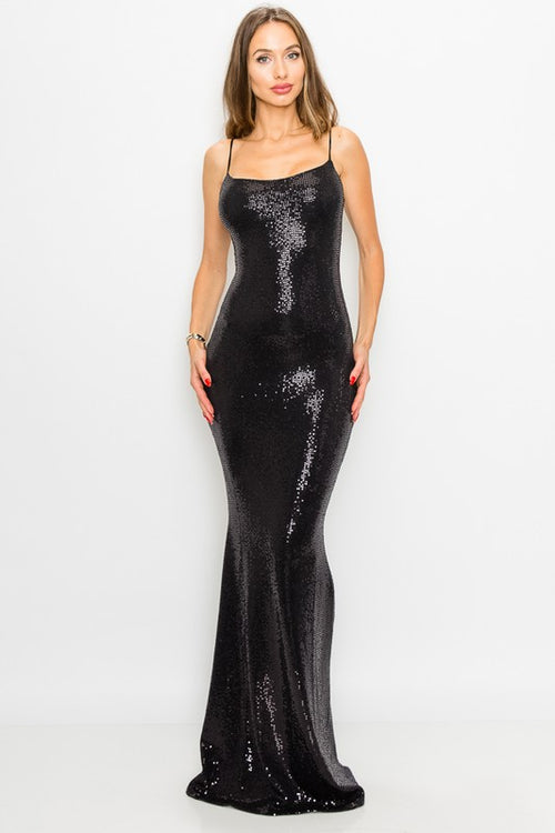 Long Shiny Spaghetti Strap Dress
