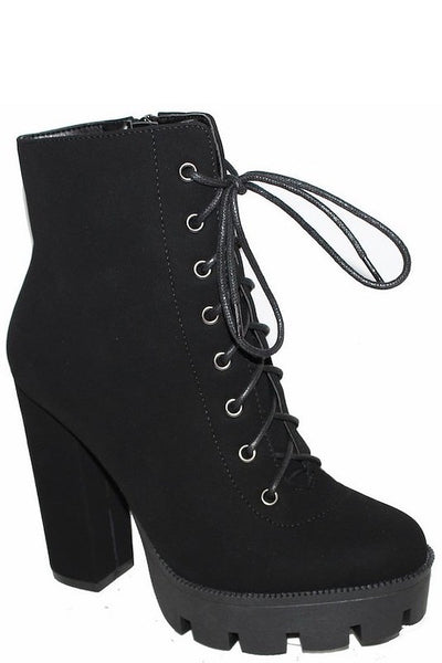 Platform Chunky Heel Lace Up Black Bootie