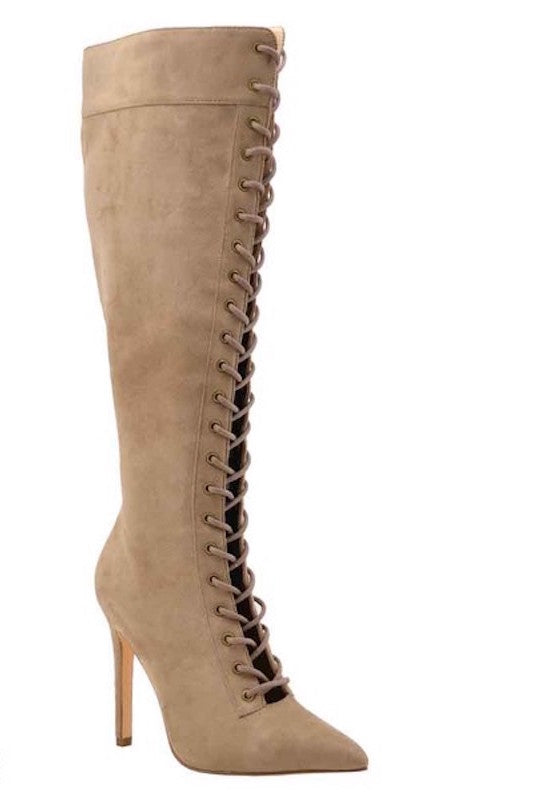 Pointed Toe Lace Up Boot
