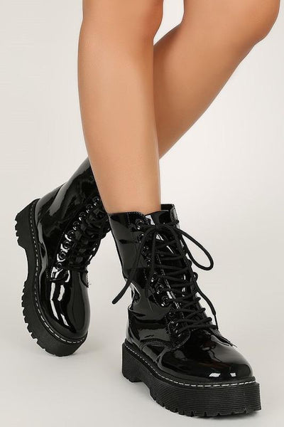 Lace Up Faux Patent Ankle Bootie