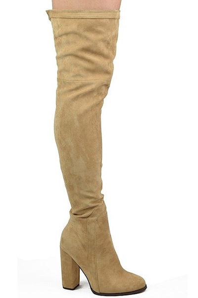 Thigh High Tall Chunky Heel Boots