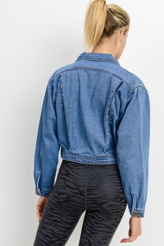 Lightly Distressed Crop Denim Jacket