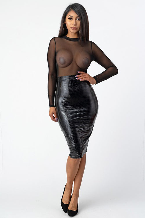 Black Sheer Crocodile Dress
