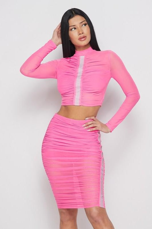 Ruched Long Sleeve Mesh Top & Skirt Set