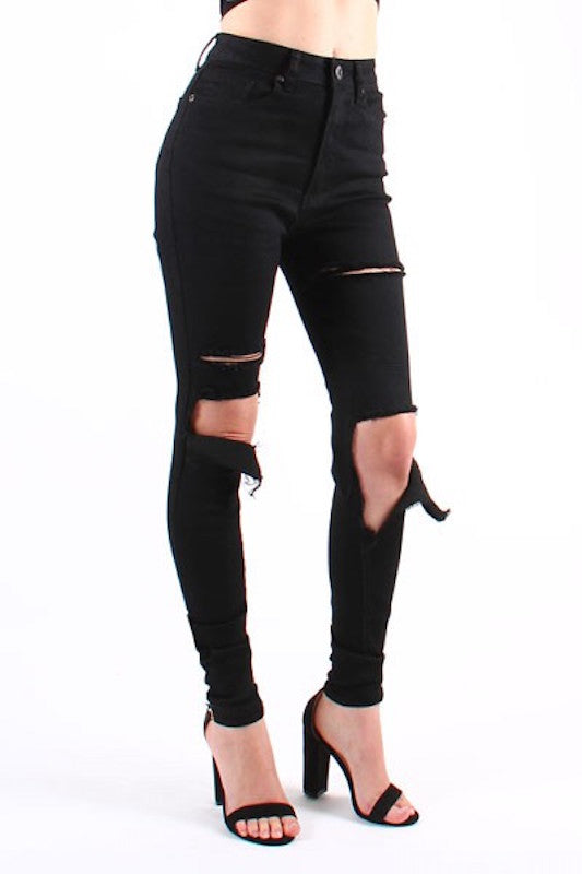 High Waist Ripped Skinny Jean