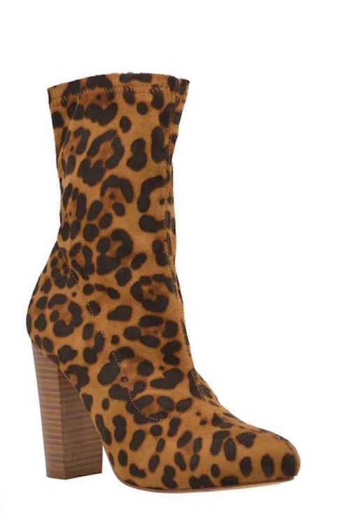 Chunky Stretch Fitted Leopard Bootie