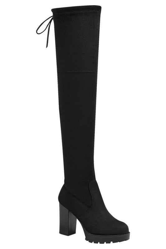Thigh High Boot with Chunky Heel