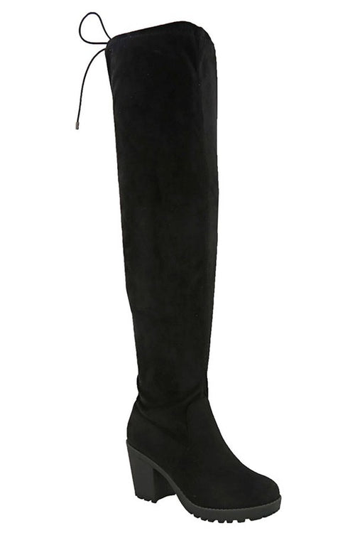 Suede Thigh High with Chunky Heel