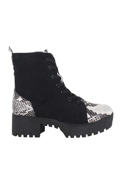 Snake Chunky Heel Lace Up Combat Boot