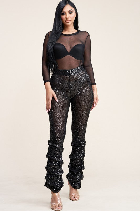 Sequin Ruffle Bottom Pants