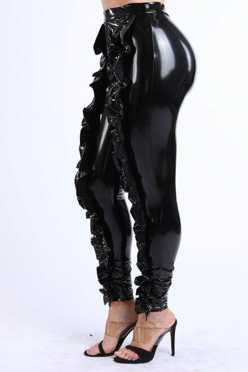 Ruffled Latex Legging