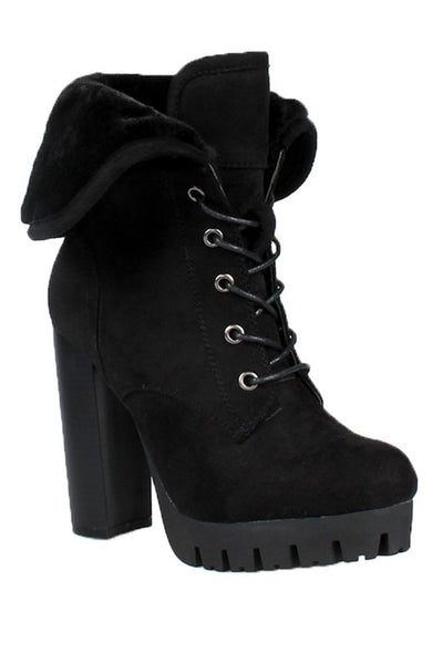 Lace Up Platform Thick Heel Bootie with Fur