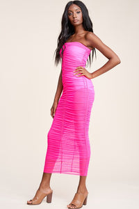 Mesh Tube Dress with Shirring