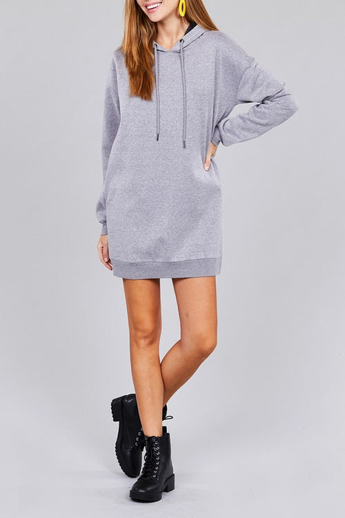 Long Sleeve Hoodie Dress with Side Pocket