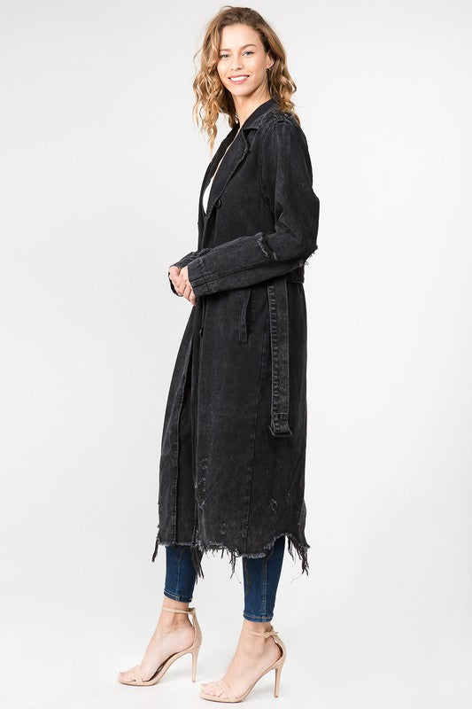 Long Denim Destroyed Coat