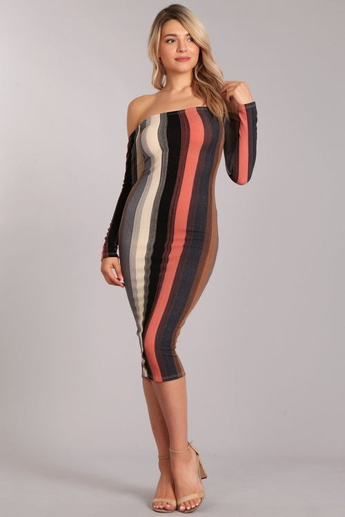 Long Sleeve Calf Length Striped Dress