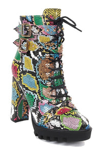 Ankle Platform Thick Heel Snake Bootie