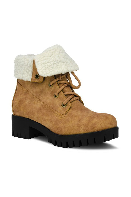 Folded Combat Boot with Fur