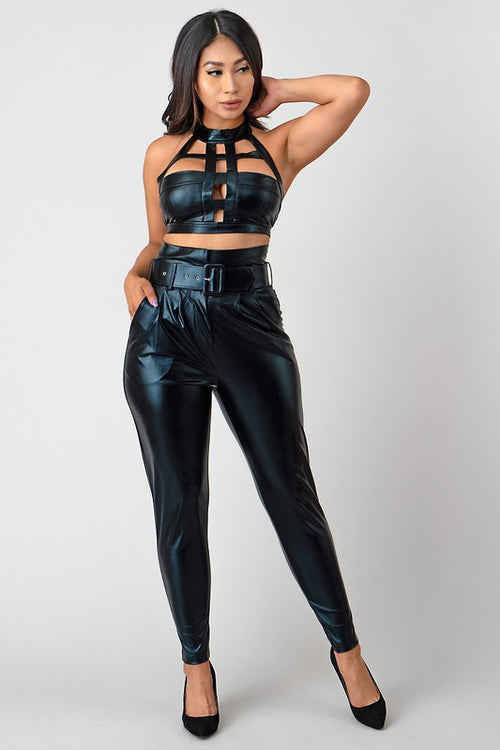 Halter Neck But Out Top & High Rise Pant Set