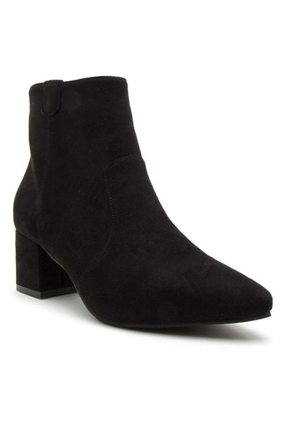 Pointy Toe Short Heel Ankle Bootie