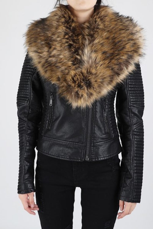Biker Leather Jacket with Fur