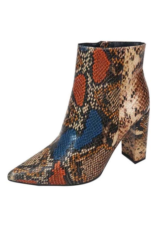 Snakeskin Pointed Toe Bootie