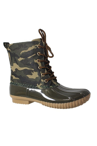 Camouflage Lace Up Rain Boot