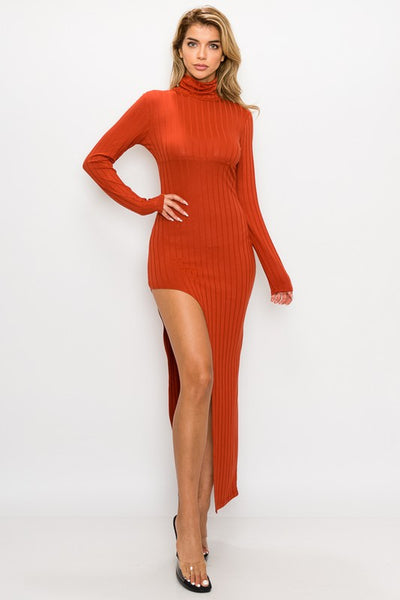 Ribbed Long Sleeve High Neck Dress