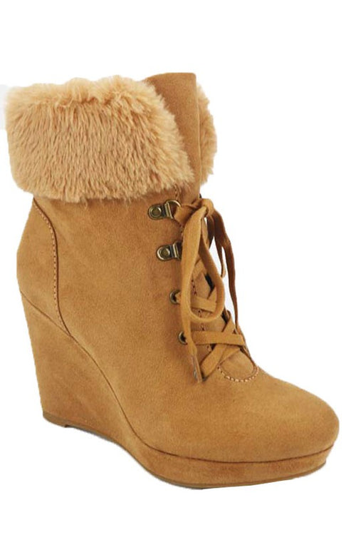 Lace Up Wedge Bootie with Fur