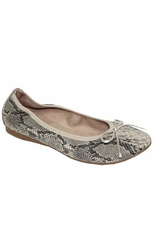 Snake Print Flat with Bow