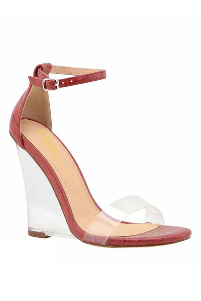 Ankle Strap Clear Wedge Heel