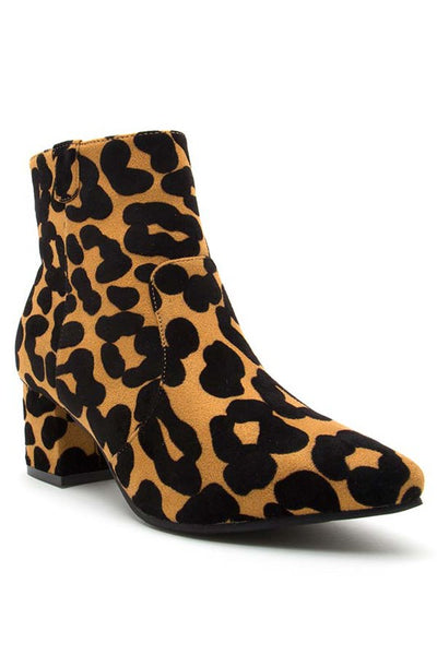 Leopard Pointy Short Heel Ankle Bootie